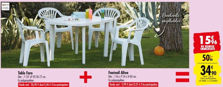 carrefour table de jardin faro 4