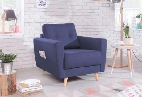 fauteuil scandinave bobochic bleu a 79