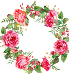free floral watercolor wreath with flowers png vector clipart  [ 1011 x 1024 Pixel ]