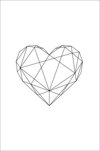 Black Geometric Heart Posters And Prints
