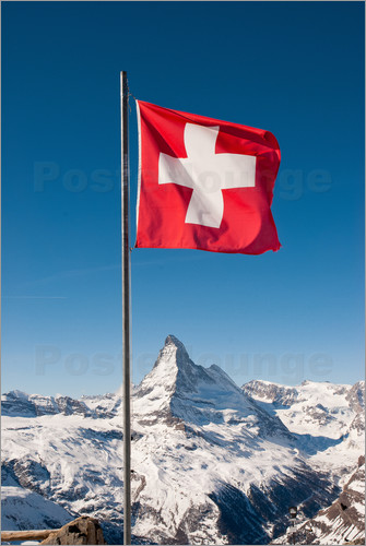 Peter Wey Matterhorn With Swiss Flag Zermatt Switzerland