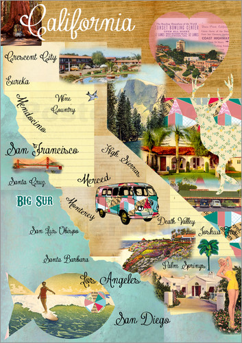 shabby chic living rooms pictures kitchen room greennest vintage california map collage poster on wooden ...