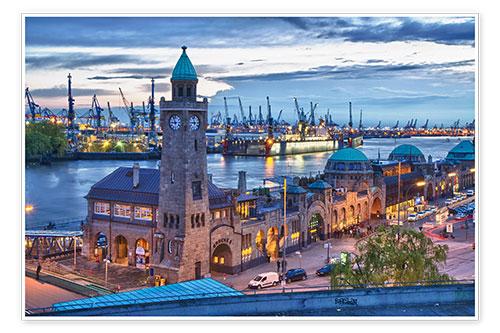 Jan Schuler Hamburg Hafen und Landungsbrcken Poster online bestellen  Posterloungede