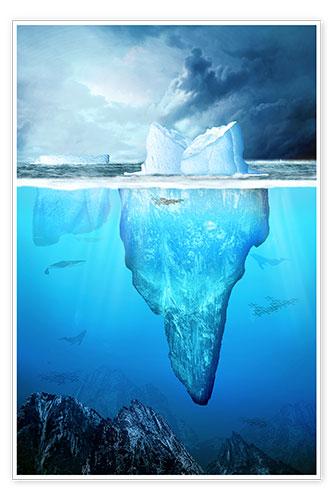 Kalle60 Eisberg unter Wasser in der Antarktis Poster