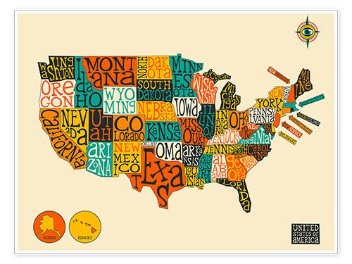premium poster united states map