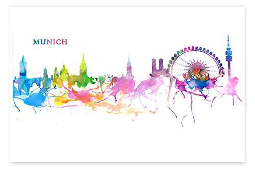 M Bleichner Skyline MNCHEN Bunte Silhouette Poster online bestellen  Posterloungede