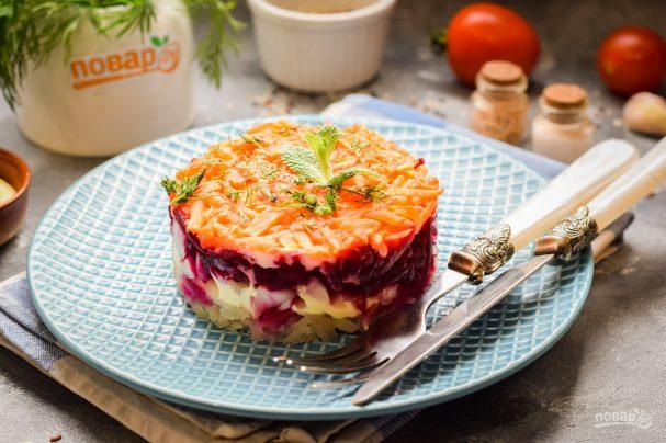 Овощной слоеный салат с майонезом