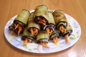 Рулетики из баклажанов с морковкой и чесноком - фото шаг 7