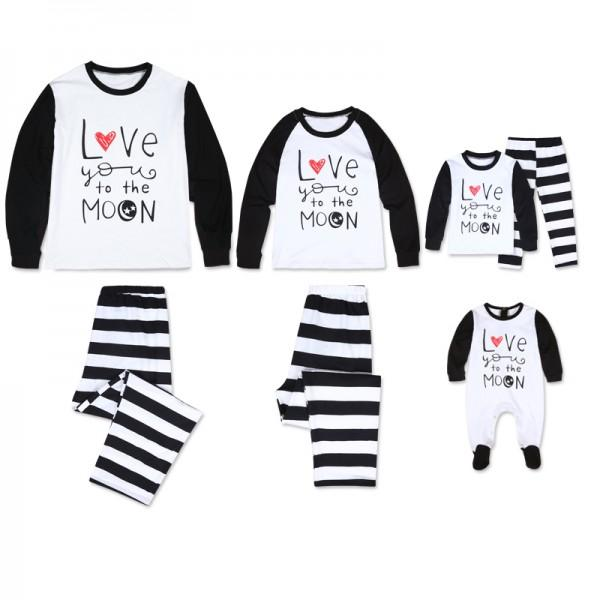 'I Love to the Moon' Long Sleeve Stripes Matching Family