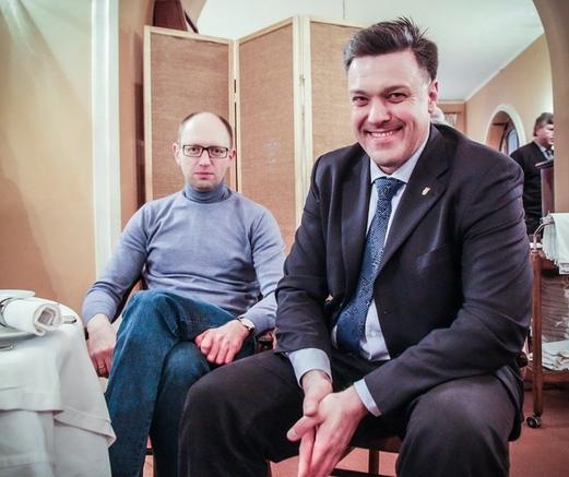 Яценюк та Тягнибок після акції у Львові