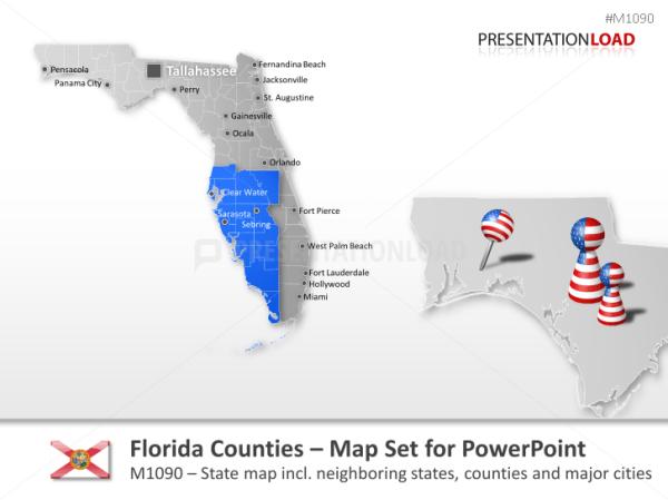 PowerPoint Map Florida Counties USA PresentationLoad