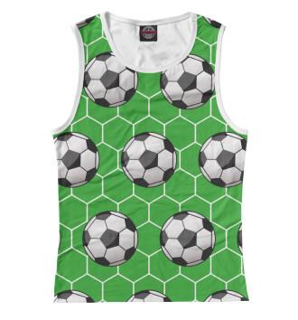 Женская Майка Футбольные мячи на зеленом фоне