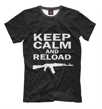 Мужская Футболка Keep calm and reload