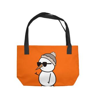 Пляжная сумка Крутой снеговик