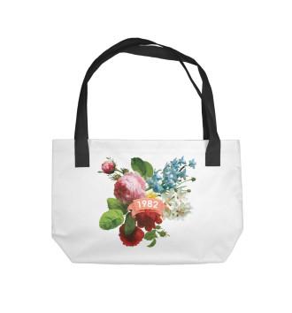 Пляжная сумка 1982 год, букет летних цветов