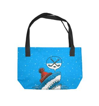 Пляжная сумка Акула хоккейный фанат