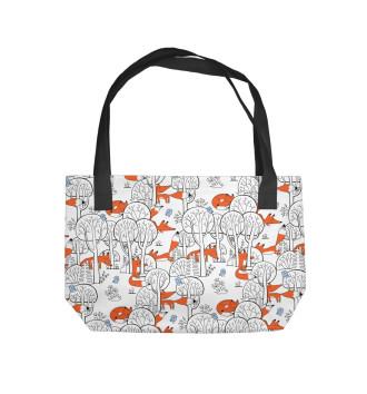 Пляжная сумка Лисички в зимнем лесу