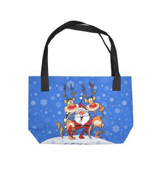 Пляжная сумка Санта Клаус с оленями