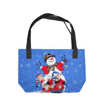 Пляжная сумка Снеговик с друзьями
