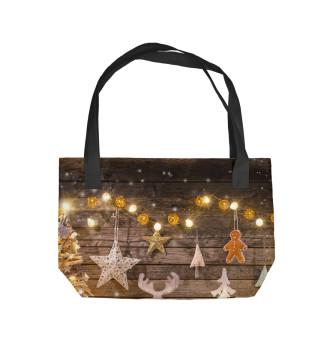 Пляжная сумка Новогодние украшения