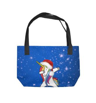 Пляжная сумка Единорог Санта