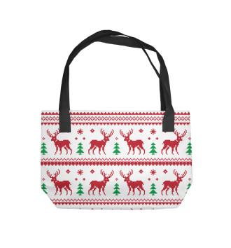 Пляжная сумка Новогодние олени