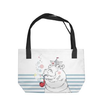 Пляжная сумка Бегемот моряк