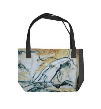 Пляжная сумка Древний рисунок. Наскальная живопись. Пещера Шове.