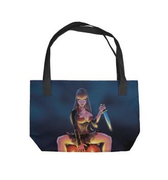 Пляжная сумка Девушка на тыкве
