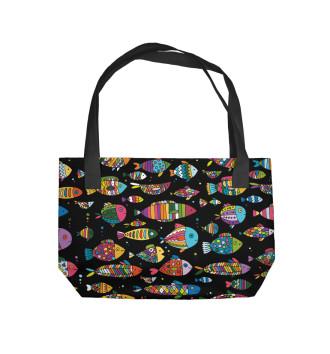 Пляжная сумка Разноцветные рыбы