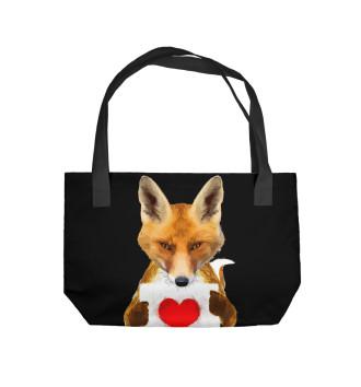 Пляжная сумка Лиса с сердечком