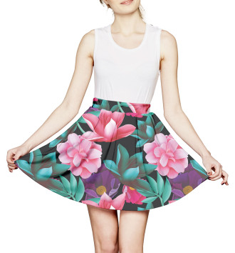 Женская Юбка с мелкими складками Цветы