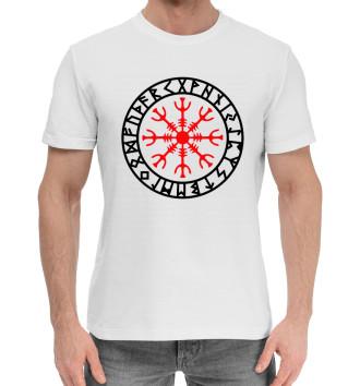 Мужская Хлопковая футболка Руны Шлем Ужасов