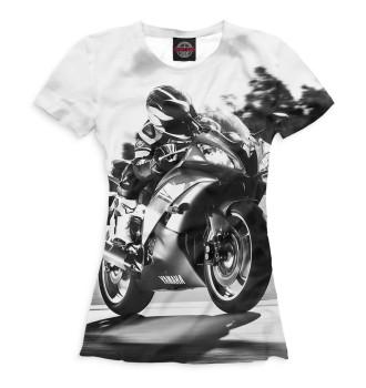 Женская Футболка Мотоциклист