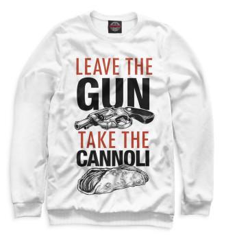 Мужской Свитшот Отложи пистолет и съешь канноли