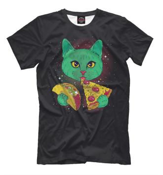 Мужская Футболка Cosmic pizza cat