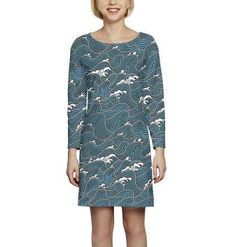 Женское Платье с рукавом Волны