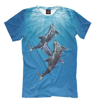 Мужская Футболка Дельфины