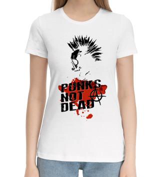 Женская Хлопковая футболка Punks not dead