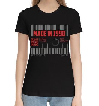 Женская Хлопковая футболка Made in 1990