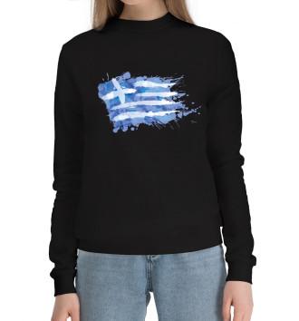 Женский Хлопковый свитшот Греческий флаг Splash
