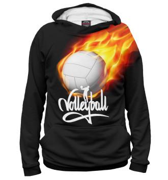 Мужское Худи Волейбольный мяч в огне