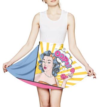 Женская Юбка с мелкими складками Поп-арт
