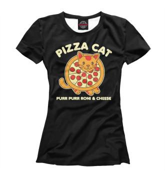 Женская Футболка Pizza cat
