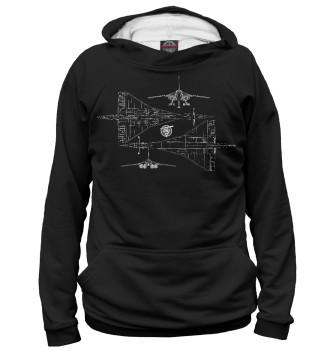 Мужское Худи Схема самолета ТУ-144 черная