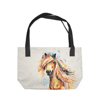 Пляжная сумка Конь акварель