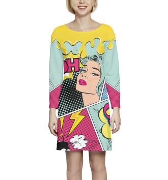 Женское Платье с рукавом Поп-арт