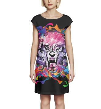 Женское Платье без рукавов Тигр