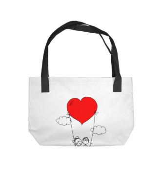 Пляжная сумка Человечки и сердечки