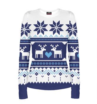 Женский Лонгслив Скандинавский свитер с оленями